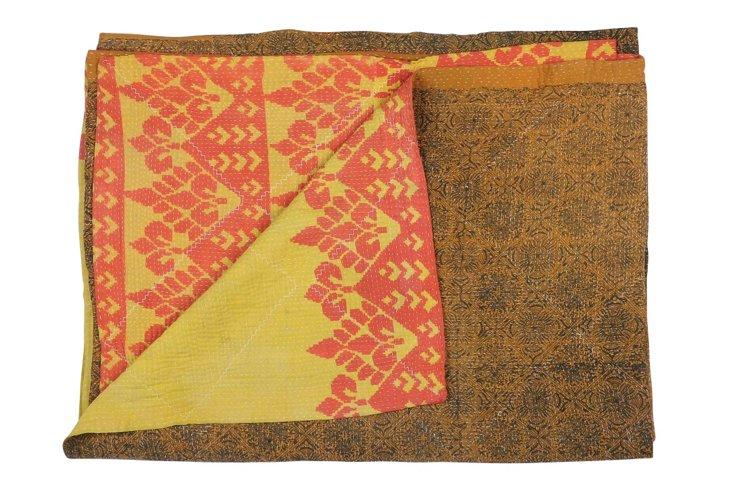 Hand-Stitched Kantha Throw, Nupura