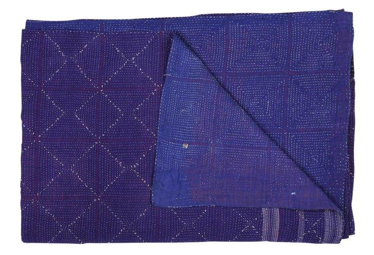 Hand-Stitched Kantha Throw, Fancy