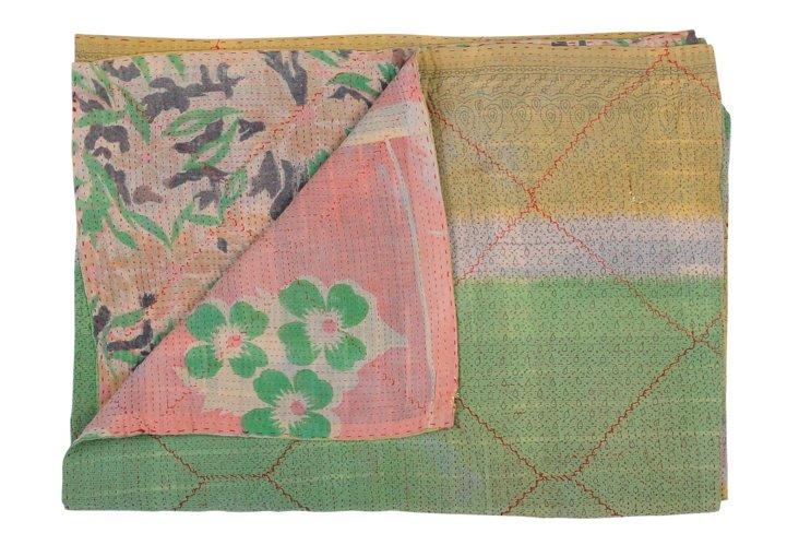 Hand-Stitched Kantha Throw, Garnet