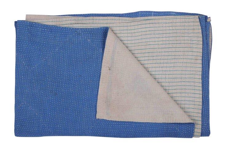 Hand-Stitched Kantha Throw, Lotus