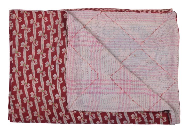 Hand-Stitched Kantha Throw, Banhi