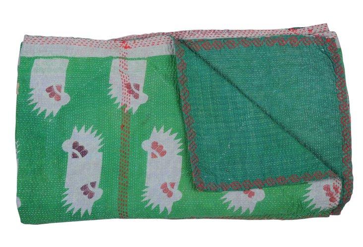 Hand-Stitched Kantha Throw, Cobblestone