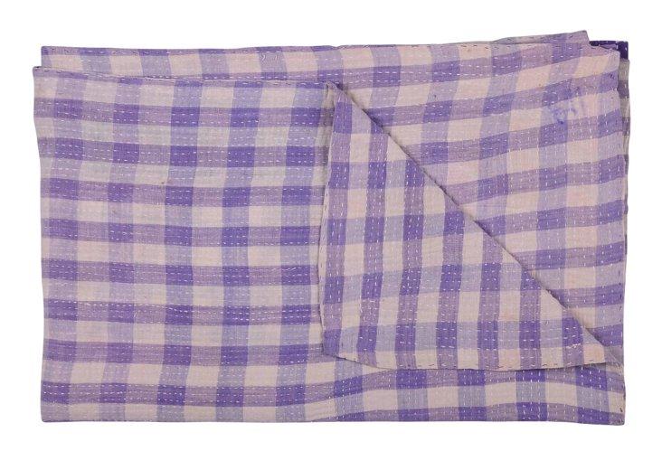 Hand-Stitched Kantha Throw, Hibiscus