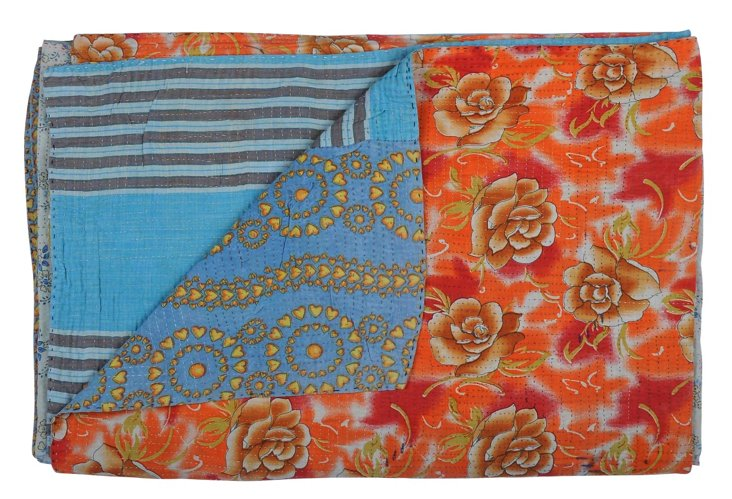 Hand-Stitched Kantha Throw, Lady