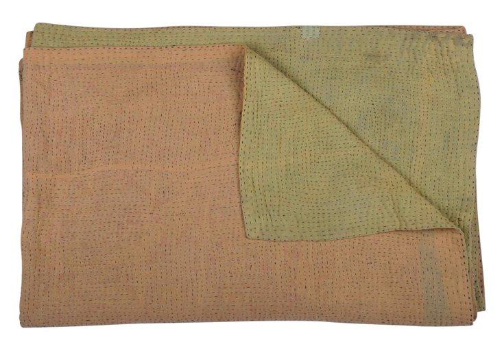 Hand-Stitched Kantha Throw, Elephant
