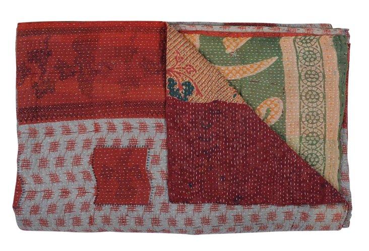 Hand-Stitched Kantha Throw, Seashell