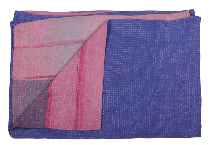 Hand-Stitched Kantha Throw, Banana