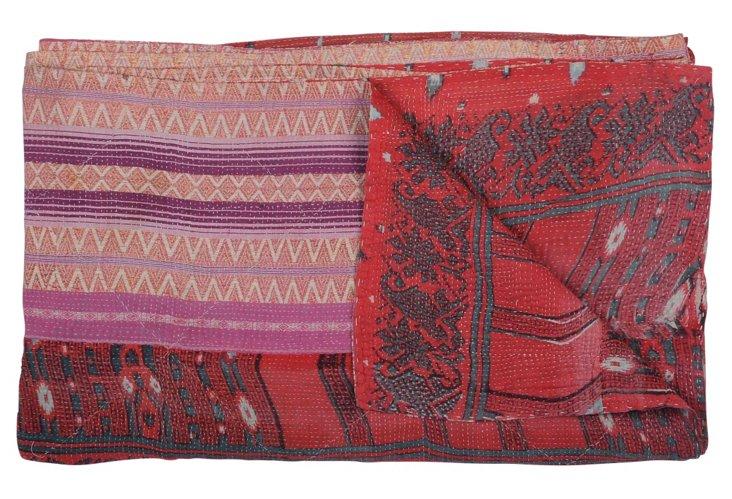 Hand-Stitched Kantha Throw, Bumblebee