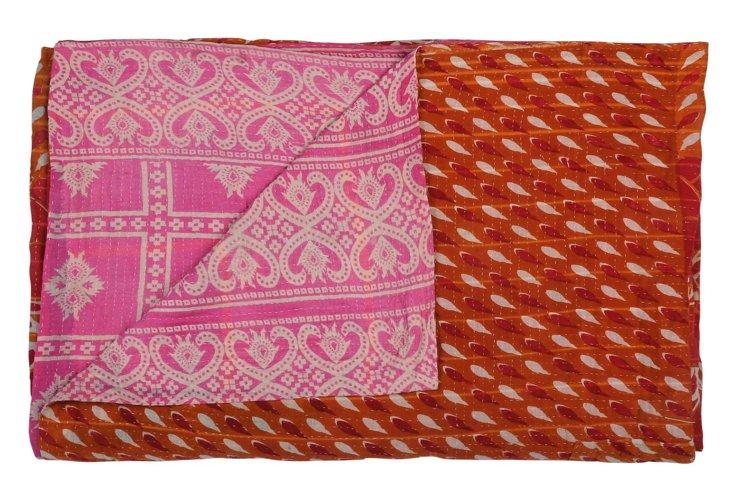 Hand-Stitched Kantha Throw, Patchwork
