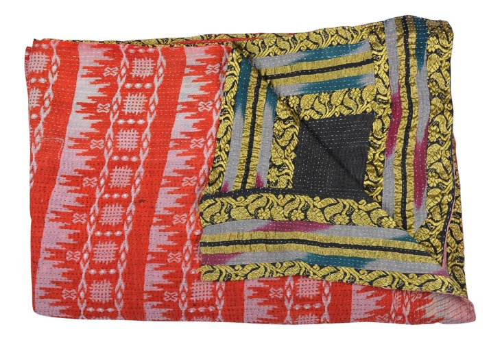 Hand-Stitched Kantha Throw, Porch