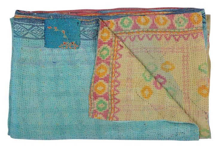 Hand-Stitched Kantha Throw, Patricia