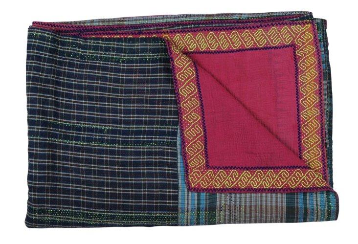 Hand-Stitched Kantha Throw, Checkered