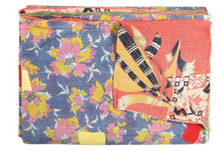 Hand-Stitched Kantha Throw, Arzula