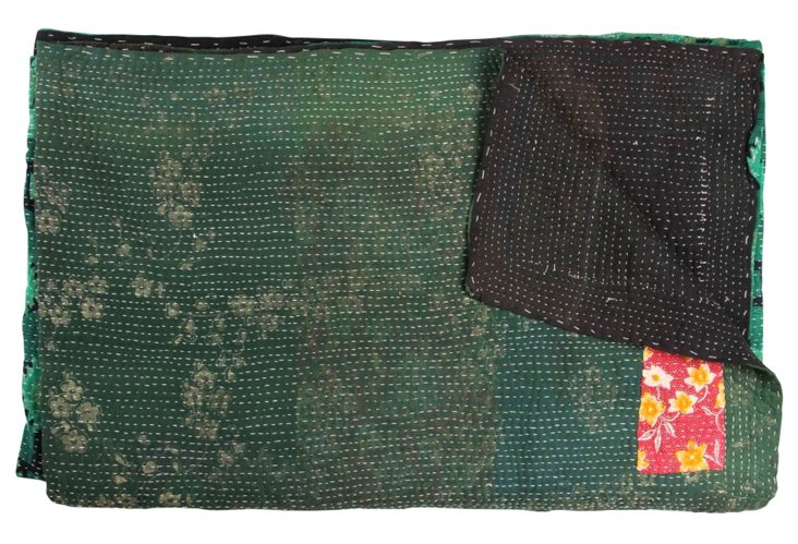 Hand-Stitched Kantha Throw, Bawiti