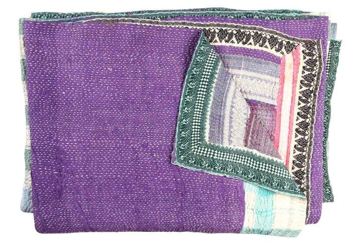 Hand-Stitched Kantha Throw, Ismalia