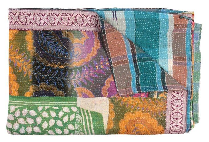 Hand-Stitched Kantha Throw, Tarfaya