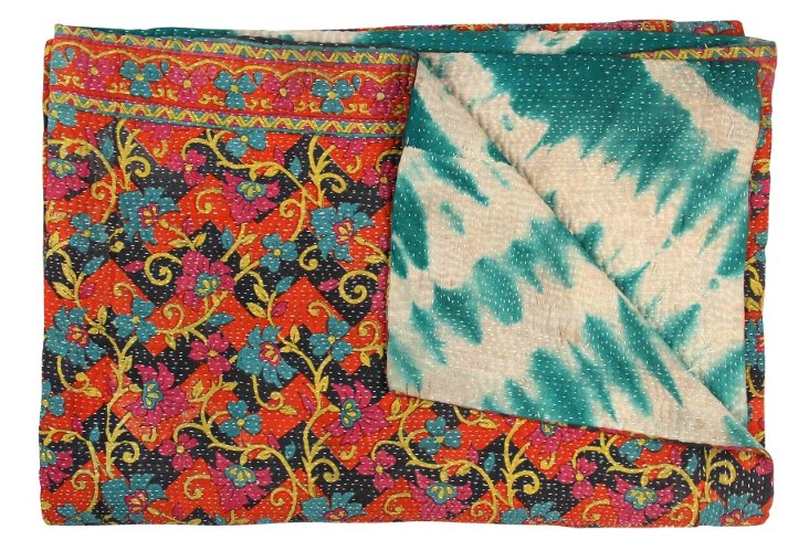 Hand-Stitched Kantha Throw, Pachora