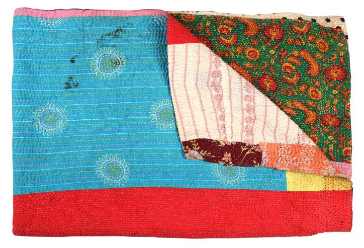 Hand-Stitched Kantha Throw, Sirkali