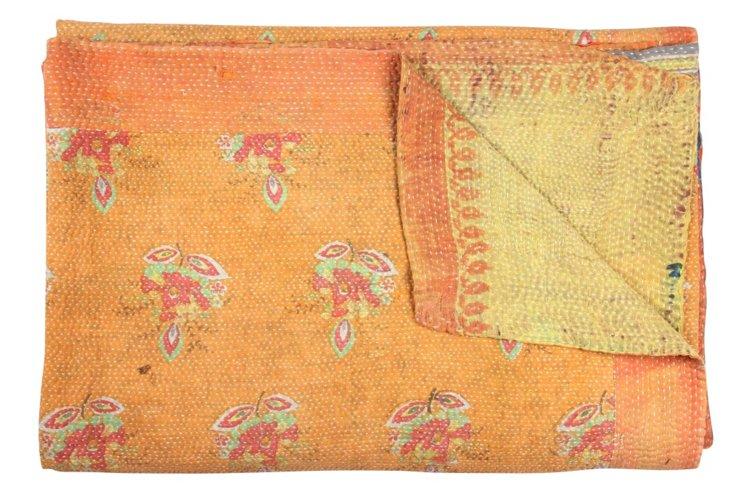 Hand-Stitched Kantha Throw, Rhotak