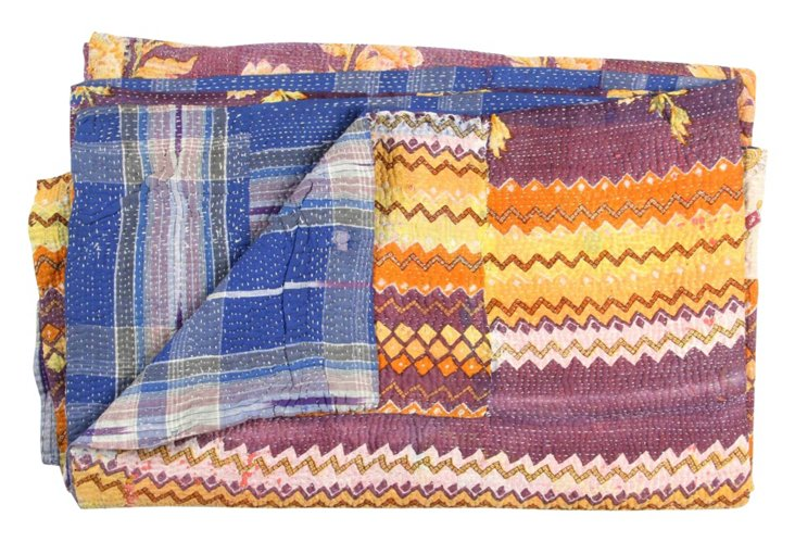 Hand-Stitched Kantha Throw, Bisbali