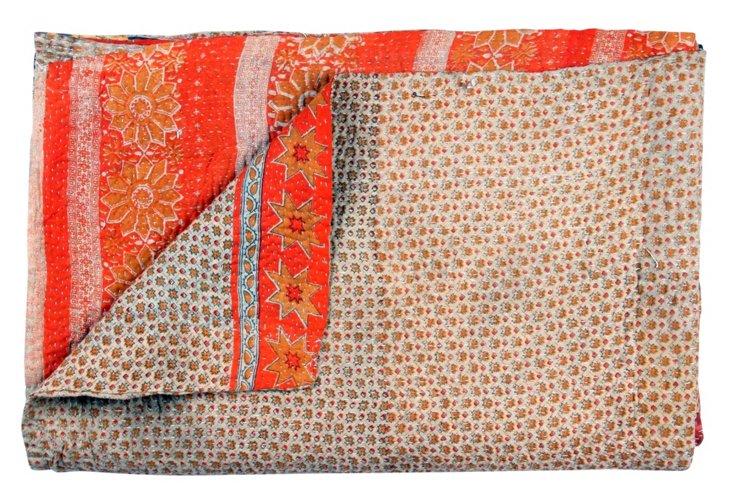 Hand-Stitched Kantha Throw, Ganesha