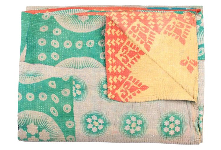 Hand-Stitched Kantha Throw, Garunda