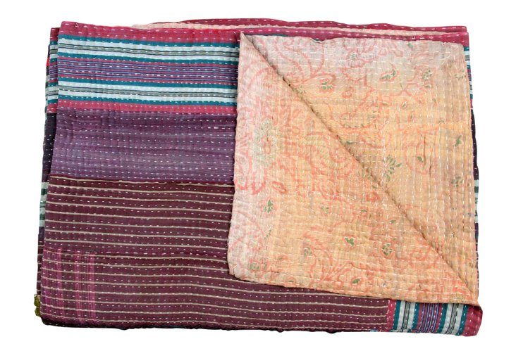Hand-Stitched Kantha Throw, Fatima