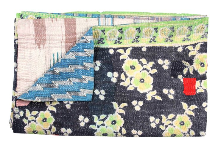 Hand-Stitched Kantha Throw, Elimu