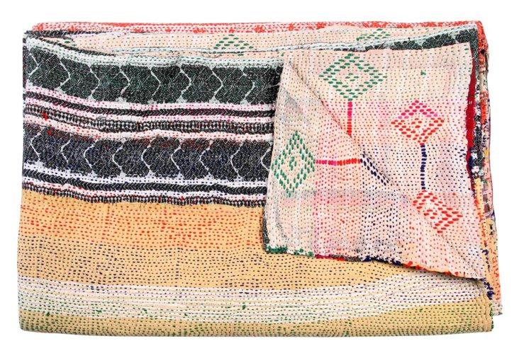 Hand-Stitched Kantha Throw, Imani