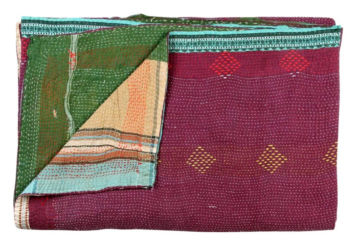 Hand-Stitched Kantha Throw, Moccasin