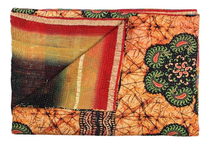 Hand-Stitched Kantha Throw, Trayi