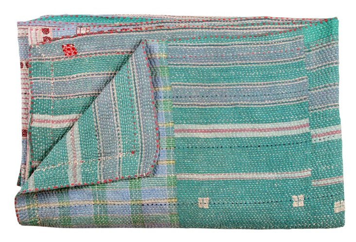 Hand-Stitched Kantha Throw, Nabhi