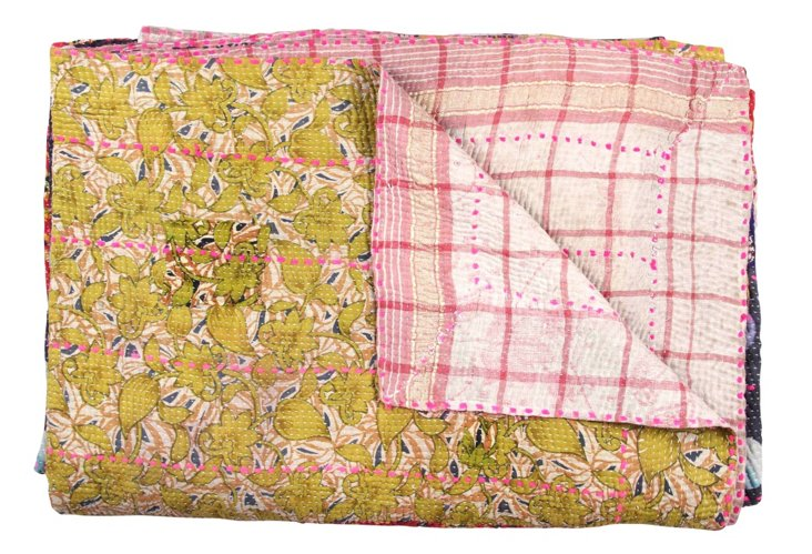 Hand-Stitched Kantha Throw, Naija