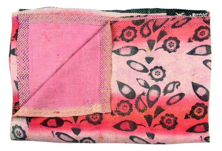 Hand-Stitched Kantha Throw, Nalini