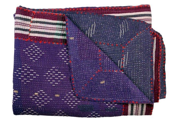 Hand-Stitched Kantha Throw, Nanda