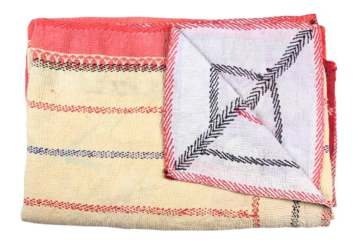 Hand-Stitched Kantha Throw, Natali