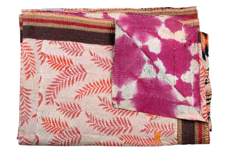 Hand-Stitched Kantha Throw, Neela