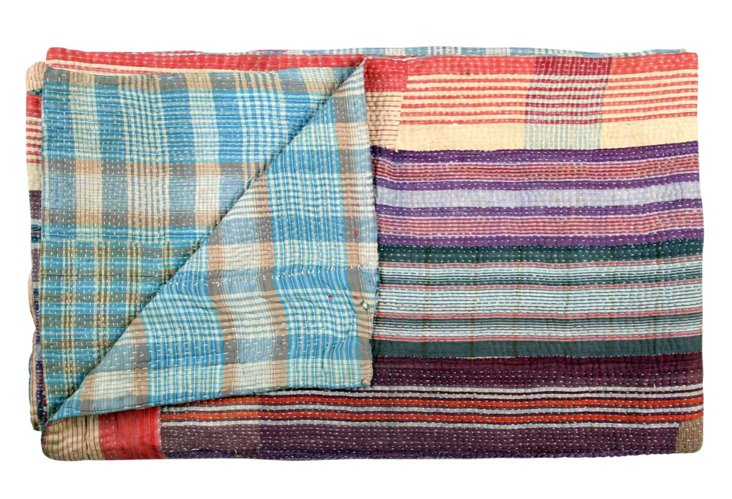 Hand-Stitched Kantha Throw, Niju