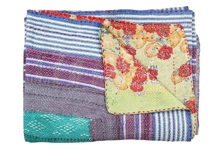 Hand-Stitched Kantha Throw, Nimmi