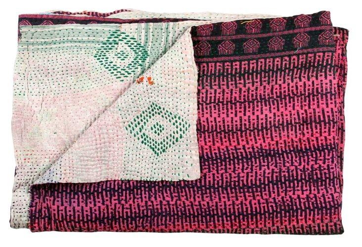 Hand-Stitched Kantha Throw, Nirmayi