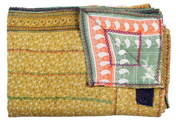 Hand-Stitched Kantha Throw, Nirvi