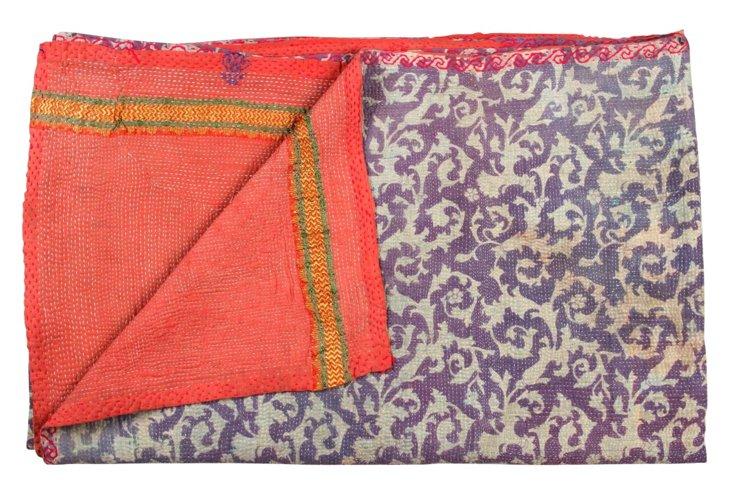 Hand-Stitched Kantha Throw, Harmony