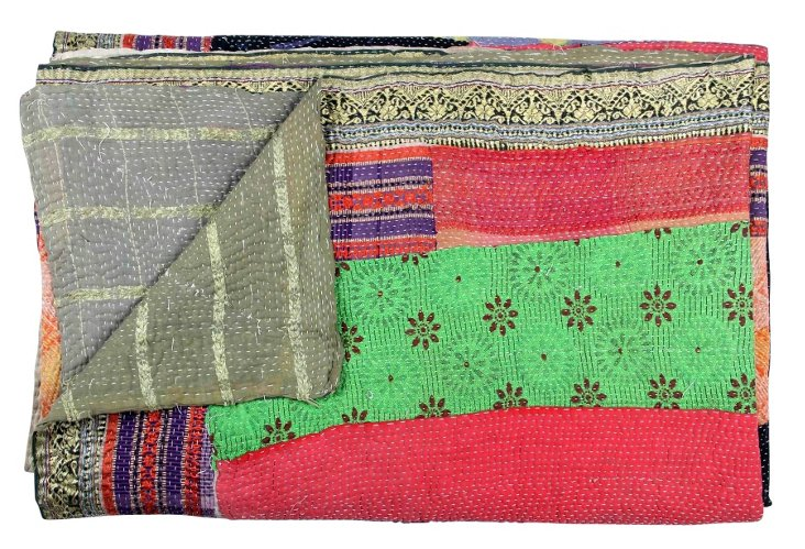 Hand-Stitched Kantha Throw, Paint