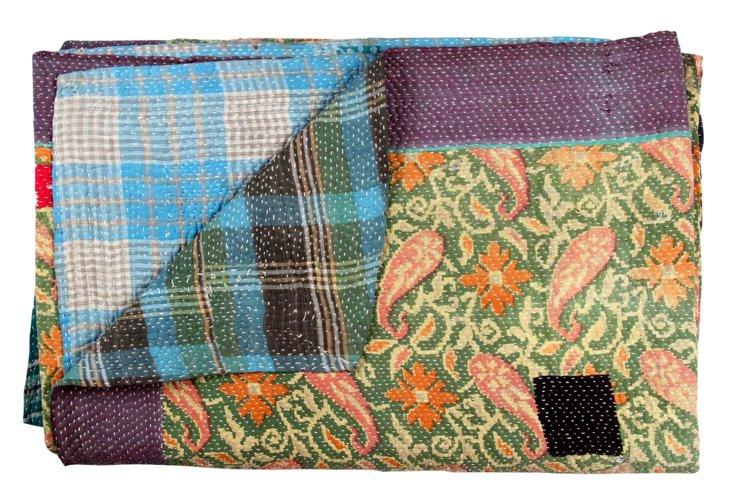 Hand-Stitched Kantha Throw, Ellie