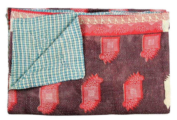 Hand-Stitched Kantha Throw, Celina
