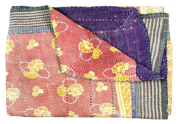Hand-Stitched Kantha Throw, Preppy