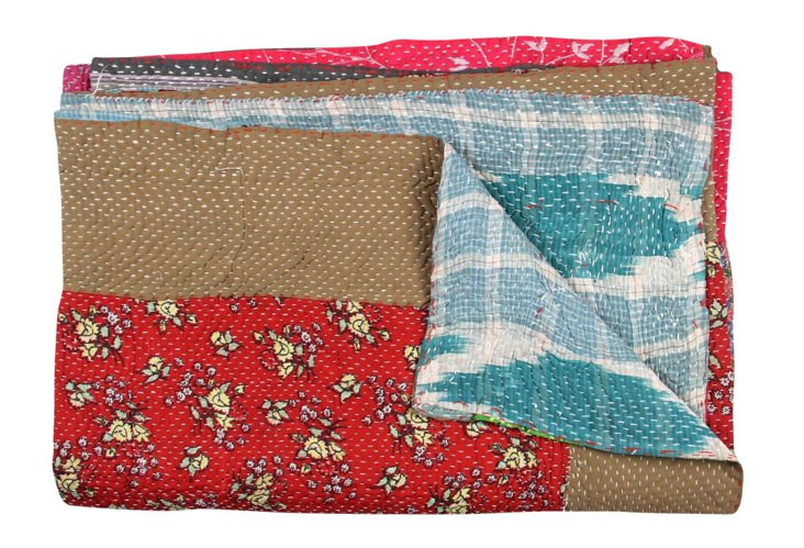 Hand-Stitched Kantha Throw, Mimi