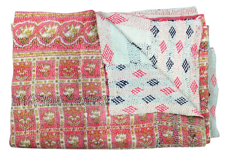 Hand-Stitched Kantha Throw, Kumquat