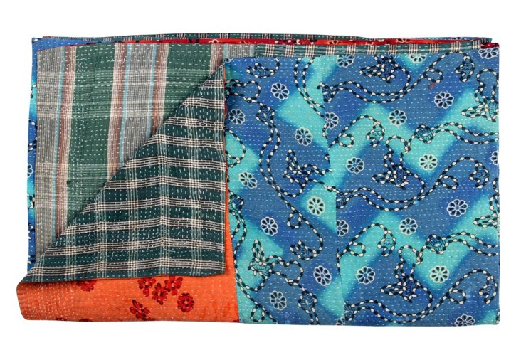 Hand-Stitched Kantha Throw, Sebastian