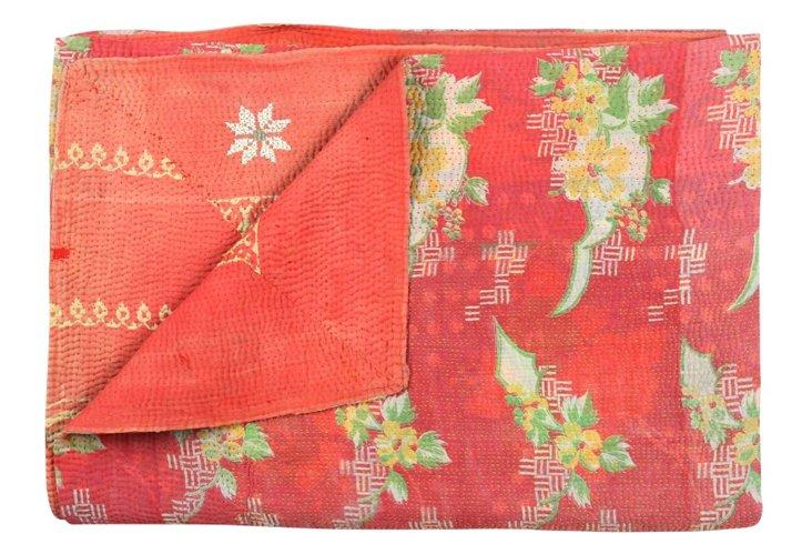 Hand-Stitched Kantha Throw, Charles